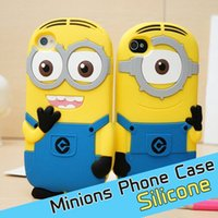 Wholesale Despicable Iphone Silicone - 3D Despicable Me Cartoon Soft Silicone Rubber Case Cute Smile Big Eye More Minions for iPhone 6 6S Plus 5S iPod Touch 5