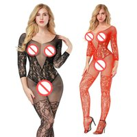 Wholesale nylon bodystockings - three quarter sleeve women sexy lingerie hot mesh fishnet open crotch bodyStockings pole dance erotic Lingerie sexy costumes bodysocks