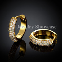 pendiente de oro lleno de rubí al por mayor-Ejecución fina 2 filas Micropave CZ Huggie Hoop pendientes oro rosa / chapado en oro 1 par