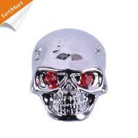 Wholesale Electric Guitars Control Knobs - Chrome Metal Skull Head Control Knobs for Electric Guitar Guitar Pots Tone Volume Control Knobs Buttons