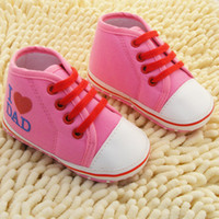 Wholesale Shoes For Girl Low Prices - Wholesale-Fashion Lowest Price High-quality Newborn shoes Love Dad and Mom comfortable toddler shoes baby shoes for girls and boy