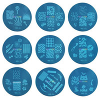 airbrush-muster schablonen großhandel-Kond Design Stamping Bule m Serie Bild Platte Mix Design 5,6 cm Stamping Nail Art Platte 100 Designs Template DHl Kostenloser Versand