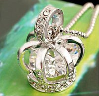 Wholesale Crown Pendant Necklace Wholesale - 2015 New silver color bird cage costume crown pendant necklace with crystal zircon