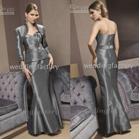 Wholesale Evening Dress Jacket Taffeta - Modest Strapless Sweetheart Mermaid Floor Length Mother of Bride Long Dresses Grey Formal Evening Gowns with Long Sleeves Jacket