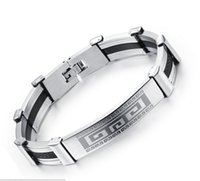 Wholesale Kinds Tops For Men - Two Kinds Stainless Steel Genuine Silicone Bangles Bracelets for Men 12pcs a Lot Latest Design Top Grade Quality