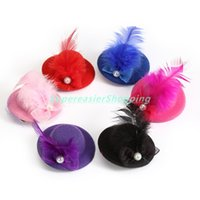 Wholesale Top Hat Beads - 6pcs lot Mini Top Cap Hair Clip Feather Bead Lace Bow Hat Fascinator Girl Hair Accessories Christmas Decor Women Fashion Party Headwear