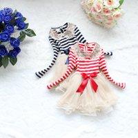 Wholesale Girls Stripe Long Dress - Girls Tutu Stripe Christmas Dress Kids Clothing 2017 Autumn Winter Dress Long Sleeve Princess Lace Tutu Flower Party Dress YAN-312