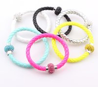 Wholesale Neon Crystals Wholesale - NEW PU Leather Crystal Ball Shamballa Magnetic Clasp Bracelet Cuff Fluorescence Neon Color Clasp Bracelet Bangle ZB51