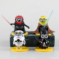 figures d'action yoda achat en gros de-4pcs cadeaux de Noël / set action Despicable Me Minion Figure Anime Action Figures Cosplay Star Wars Stormtrooper Revoltech Darth Vader Yoda