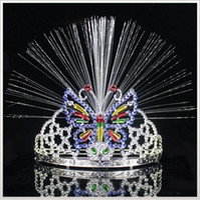 Wholesale Wholesale Animal Headgear - LED Colorful Light Crown Masquerade Christmas Party Headgear Butterfly Crown Fiber-optic Headband Mardi Gras 1000 pcs YYA766