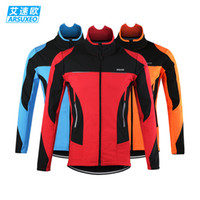 Wholesale Thermal Wear For Men - 2016 New Arrival ARSUXEO Winter Thermal Cycling Jackets Clothes Reflective Pro Road Bike Bicycle Jerseys for Man Cycle Clothing Coats Wear