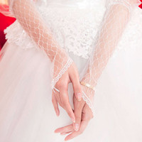 Wholesale Tulle Long Bridal Gloves - Gorgeous 2015 Long Sheer Bridal Gloves Fingerless White Netting Tulle Lace Edge Wedding Accessories High Quality