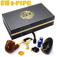 batterie pour tuyau de fumée achat en gros de-Top qualité Pipe 618 E-pipe e électronique cigarette ego kit de démarrage Fumer de luxe 2,5 ml atomiseur 628 Clearomizer double 18350 Batterie boîte-cadeau