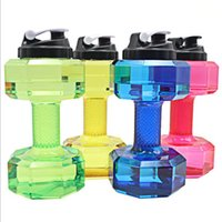 Wholesale Large Plastic Lid - 2.2 L Dumbbells Shaped Plastic Big Large Capacity Gym Sports Water Bottle Outdoor Fitness Bicycle Bike Camping Cycling Kettle New Wholesale
