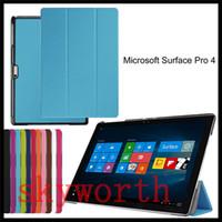 Wholesale Microsoft Surface Skin - Ultra Slim Folding leather case Folio Flip Smart Cover for Microsoft Surface3 Surface pro 3 4 10.8 12.3 inch Tablet PC