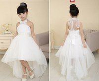 Wholesale Top Dresses Cheap Price - 2015 Fashionable Top Cheap Price Pretty Halter Flower Girls' Dresses Beading Ball Gown Hi lo Length Good Quality Organza Pageant Dresses