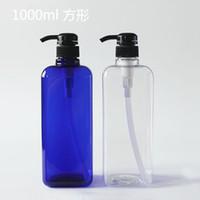 fabricants de bouteilles en plastique achat en gros de-Vente en gros- 1L Carré Bleu Pompe À Pression En Plastique Shampooing Cosmétiques Bouteille Vide Fabricants Bouteille À Pression Directe
