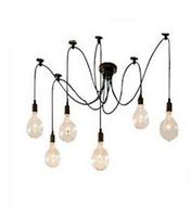 luzes suspensas clássicas venda por atacado-Lustre clássico 6 luzes da lâmpada do candelabro E27 aranha Edison DIY grupo pendurado lâmpadas de iluminação de iluminação acessórios linha Frete Grátis
