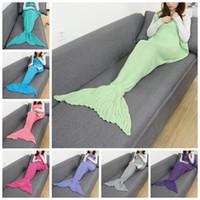 ingrosso crochet del sacco a pelo della sirena del bambino-Mermaid Blankets Kids Baby 90 * 50cm Mermaid Tail Coperta a maglia Crochet Sacchi a pelo Mermaid Sofa Air Coperte di Natale OOA3622