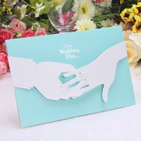 koreanische hochzeitsfotos großhandel-2015 blaue Hochzeitseinladungen die europäisch-ähnlichen Einladungen, die kreative kundenspezifische koreanische kundenspezifische Einladungen Wedding sind, kann Foto drucken