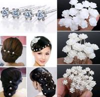 Wholesale U Pick Flowers - 40PCS Wedding Bridal Pearl Hair Pins Flower Crystal Hair Clips Bridesmaid Hair Accessories 5 Styles U Pick