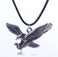 Wholesale Men Eagle Necklaces - Hot Sale 12PCS Vintage Silver Eagle Pendant Necklaces Cool Men Women's Animal hawk Pendants Leather Necklaces MN20