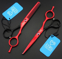 Wholesale Thinning Scissors Kit - Hair Scissors black & red Cutting Scissors and Thinning Scissors Professional Barbers Scissors Kits,5.5inch with Case