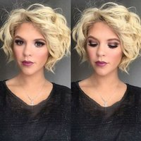 Wholesale Blonde Roses - Z&F Blonde Wig 12 inch Loose Wave Short Wigs Curly Blonde Natural Wave Fashion Rose Net Hair