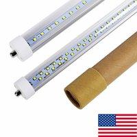 Wholesale 8ft Single Pin Led Light - 8ft Single Pin FA8 led t8 tube lights Double Sides 384LEDs 72W LED Fluorescent Tubes Light 85-265V + Stock In US