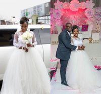 marfim queda casamento vestidos venda por atacado-2018 Outono Inverno Marfim Branco Vestidos de Casamento Sheer Neck Mangas Compridas Rendas Apliques de Tule Vestidos de Noiva Do Vintage Africano Árabe Vestido