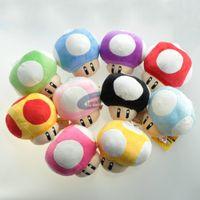 "Wholesale Super Mario Key Chain - Super Mario Bros Mushroom With Key Chain Plush Doll 2.5"" Toy 10colors 20pcs lot"