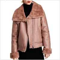 Wholesale Womens Long Sheepskin Coat - Luxury Brand Thicken Warm Clothing Womens Faux Leather Jacket Pink Fur Sheepskin Girls Winter Coat Chaqueta Cuero Mujer