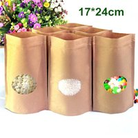 Wholesale Kraft Paper Zipper Top Bags - DHL 200Pcs Lot 17*24cm Stand Up Kraft Paper Doypack Pouch Zipper Top Ziplock Packing Bag Food Storage Package Bag With Oval Clear Window