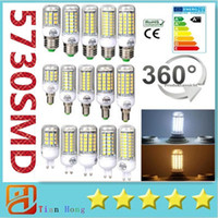 Wholesale Led Corn Globe - Ultra Bright SMD5730 E27 GU10 B22 E14 G9 LED lamp 7W 12W 15W 18W 220V 110V 360 angle SMD LED Bulb Led Corn light 24LED 36LED 48LED 56LED