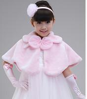 ingrosso abiti da scialle-MOQ = 5 PZ Bambini accessori abito principessa Pelliccia Boleros Scialli di fiore per bambini Poncho ragazza cape abbigliamento bambino 2 colori rosa spedizione gratuita