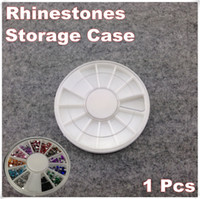 Wholesale Empty Nail Art Wheels - Wholesale-1 Piece White Plastic Empty Wheel Box Case For Nail Art Gems Rhinestones Storage Case + Free Shipping (NR-WS85)