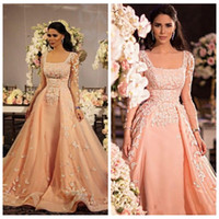 Wholesale Coral Satin Evening Gowns Dresses - Arabic Lace Appliques Evening Dresses Long Sleeves Coral 2016 Sheer Prom Party Dresses Lace Satin 2016 Cheap Vintage Ball Gown