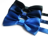 Wholesale Tuxedo Tie Free Shipping - New Arrival Men's Fashion Tuxedo Classic Solid Color Butterfly Wedding Party Bowtie Red Black White Bow Tie Free shipping B0119-1