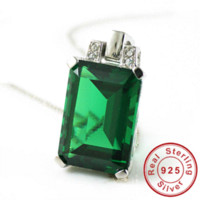 Wholesale Emerald Russian - Hippie Style Hot 5.8ct Emerald Pendant Necklace Charm 925 Solid Sterling Silver Fashion Russian Nano Gem Set Free Shipping
