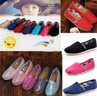 Wholesale Kids Squared Shoes - 2016 hot Sell Children's shoes Kids Classic Canvas Shoes girls Flats Shoes baby Casual solid color canvas shoes glitters Sneakers #tomshoes