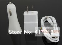 Wholesale Galaxy Charger Set - Top Quality 3 in 1 Kit, 2A Wall Charger+Car Charger+Data Cable For Samsung Galaxy S5 I9600 Note3 N900 N9000, Free Shipping (10 sets )