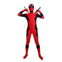 Wholesale Kids Comic Book - Red Deadpool Costume Unisex Comic Book Costumes Elastic Lycar Fabric Cosplay Costumes Fictional Characters Classic Design DC002