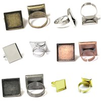 Wholesale Blank Jewelry Square - Beadsnice fashion jewelry components square ring bezel base diy brass ring blanks adjustable blank ring base for handmade ID 32249