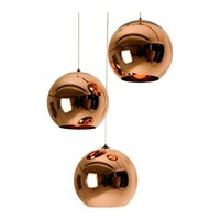 Wholesale Copper Pendant Ball Lamp - NEW Tom Dixon Copper Shade Mirror Chandelier Ceiling Light E27 LED Pendant Lamp Bulb Modern Christmas Glass Ball Golden Lighting