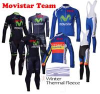 Wholesale Long Bib Movistar - Wholesale-Movistar 2015 Winter cycling jersey Thermal Fleece long sleeve bib kits men sportswear bicycle clothing mtb ropa ciclismo
