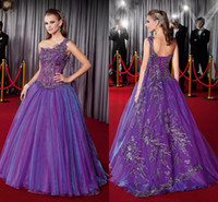 Wholesale Lace Ruffle Scarf - Luxurious Purple One Shoulder Pageant Dresses 2015 Delicate Embroidery Appliques A-Line Lace-up Prom Gowns with Scarf LAN0617