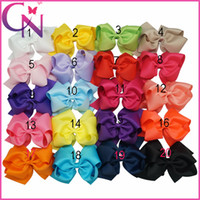 Wholesale Color Barrettes Wholesale - 6 Inch Solid Ribbon Double Stacked Hair Bows With Barrette Hair Clips Baby Girl Boutique Hair Bows Accessories Free Shipping