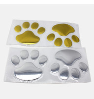 Wholesale Print Decals - 12sheets Hot Sale 3D Car Window Bumper Body Decal Sticker Bear Dog Animal Paw Foot Prints Pattern Sticker Gold Silver Tone Free