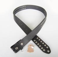 Wholesale Emo Belts - Wholesale Retail Real Leather Belt Studded Punk Rock Emo Black Solid Genuine Leather Belt Gurtel Free Ship