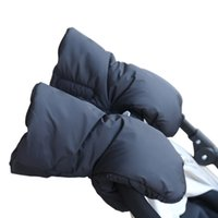 Wholesale Fleece Gloves Black - 1 Pair Winter Pram Stroller Ski Gloves Accessory Coupler Hand Cart Muff Warm Fur Fleece Gloves Pushchair Hand Muff kids Buggy Clutch